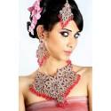 Bijoux indiens parure fleur rose
