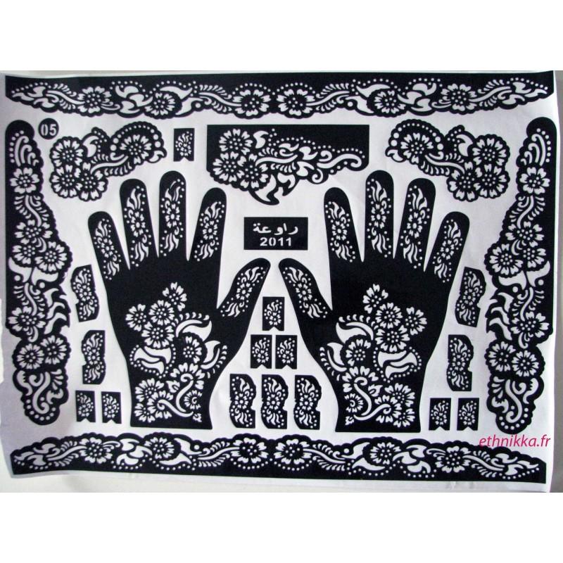 Acheter pochoirs pour henn tatouage main fleurs mehndi design - Dessin de henne pour les mains ...