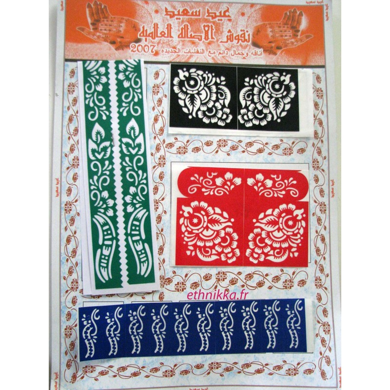 acheter pochoirs pour tatouage au h nn sous forme de fleurs pas cher. Black Bedroom Furniture Sets. Home Design Ideas