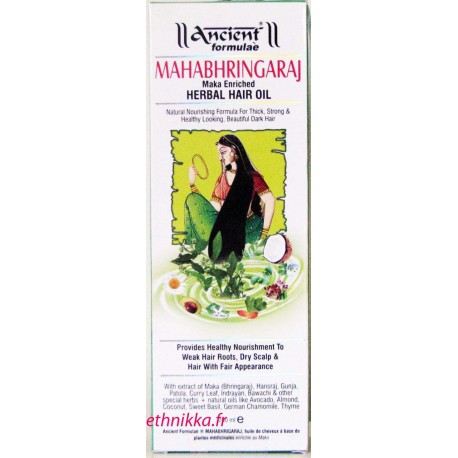 Huile mahabhringaraj ancient formulae nourrit, lisse et enrichit vos cheveux et votre cuir chevelu.