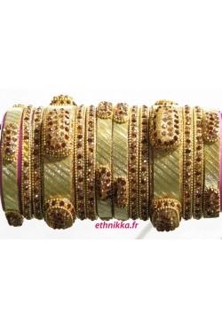 Bracelets d'Inde bangles cristal de mariage doré
