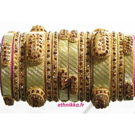 Bracelets indien de mariage doré cristal de pierres swarovski