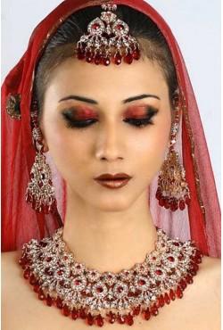 Parure bijoux indiens rouge