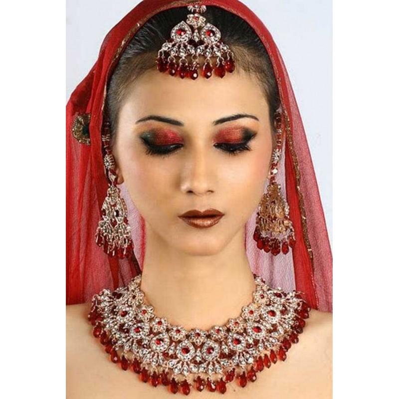 Parure bijoux rouge