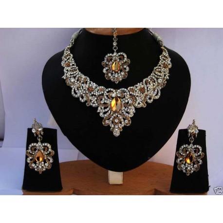 Soldes Bijoux de mariage parure indienne en plaqué or pas cher existe en plusieur couleurs