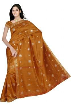 Sari indien traditionnel en soie satin brodé de doré pas cher