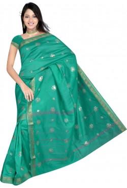 Sari pas cher tenue indienne en soie satin brodé de doré