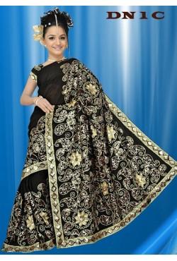 Sari noir brodé de sequin doré mode indienne traditionnel et pas cher