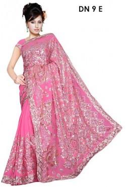 Sari pas cher robe indienne rose brodée