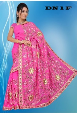 Sari indien traditionnel rose brodé de sequin doré