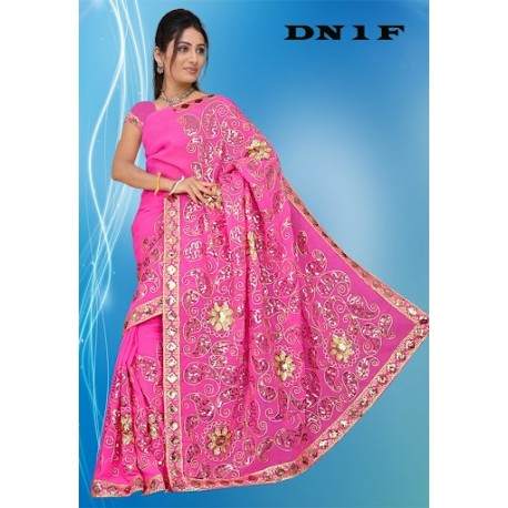 Sari rose brodé de sequin doré mode indienne traditionnel et pas cher