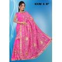 Sari indien traditionnel rose brodé de sequin doré