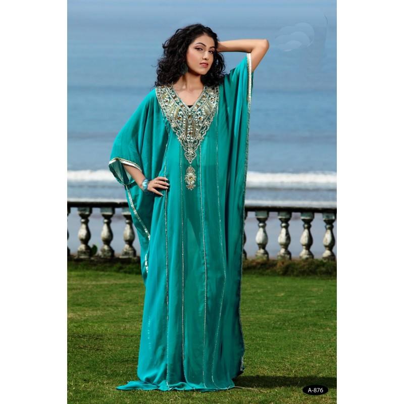 Robe dubai bleu turquoise