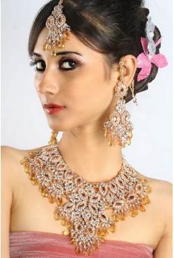 Bijoux de mariage indiens parure ambre