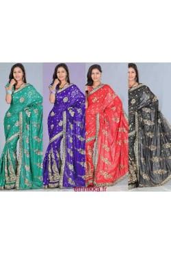 Sari indien pas cher brodé en sequin doré existe en rouge, noir, vert ou bleu