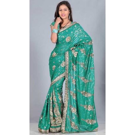 Sari indien pas cher brodé en sequin de doré existe en rouge, noir , vert ou bleu