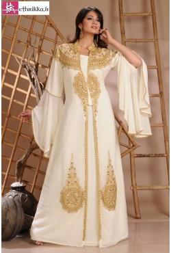 Robe de Dubaï blanc ivoire