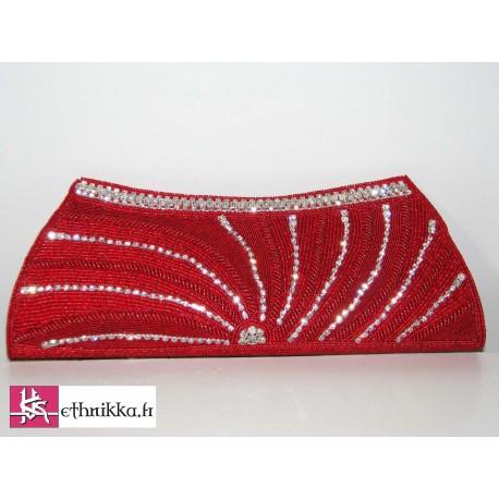 Pochette sac de soirée brodé de perles et swarovski