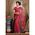 Sari indien mariage rouge magenta brodé à fleurs et strass