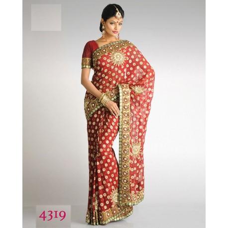 Sari indien rose brodé de fleurs en perles