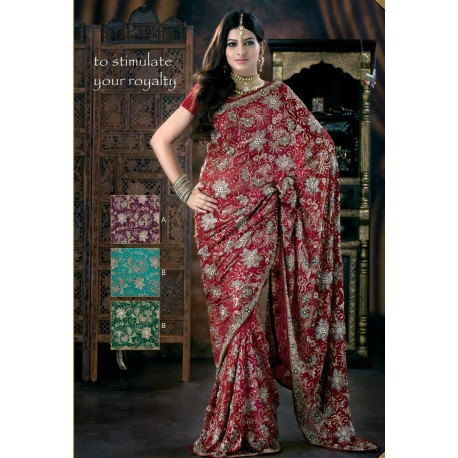 Sari indien violet mariage brodé de perles