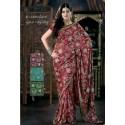 Sari indien rouge de mariage brodé de perles en forme de fleurs