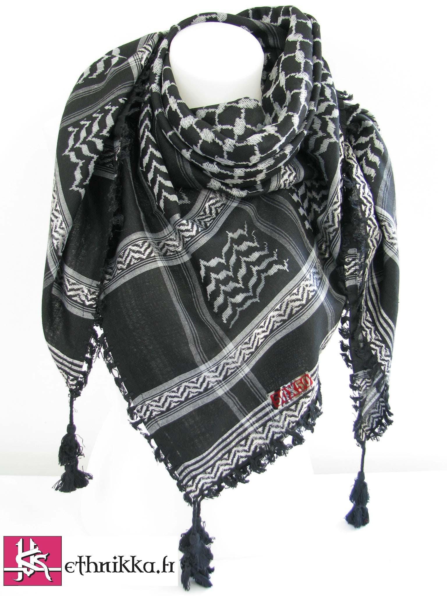 Keffieh noir et gris - foulard palestinien 4a23b2e2018