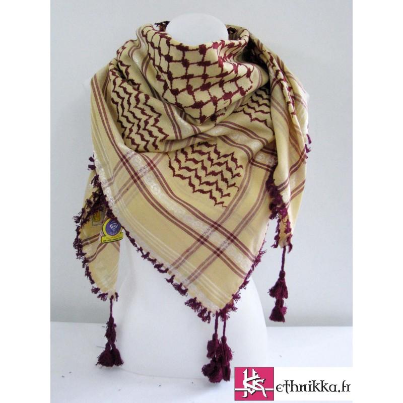 Acheter keffieh beige et rouge - foulard palestinien 3448ed6f35f