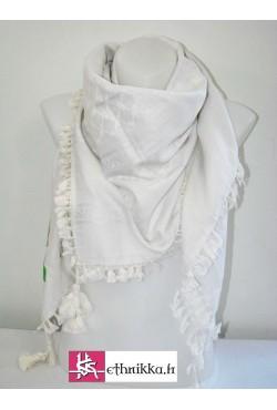 Keffieh palestinien foulard blanc