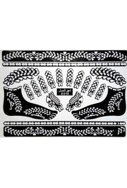 Pochoir tatouage henné design mehndi de fleurs pour les pieds
