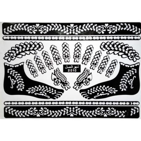 Pochoirs tatouages de fleurs henné pour les mains