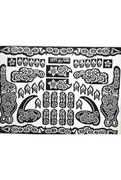 Pochoir henné de fleurs mehndi design pour tatouage