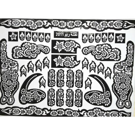 Pochoirs tatouages de fleurs henné pour les chevilles