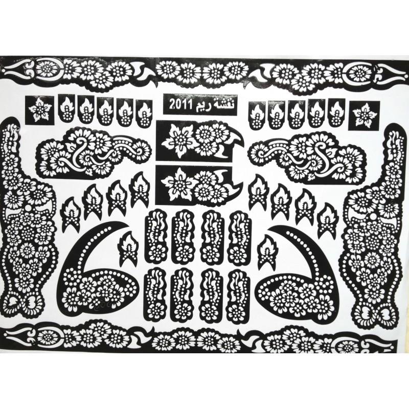 acheter pochoirs henn pour tatouage indien mehndi design pour les chevilles. Black Bedroom Furniture Sets. Home Design Ideas