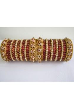 Bracelets bangles Bollywood de mariage doré cristal rouge