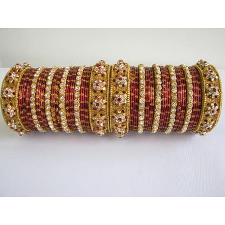 Bracelets indien de mariage doré cristal de swarovski rouge