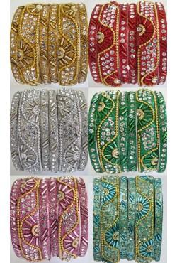 Bracelets indien bangles perles et swarovski - 3 piéces