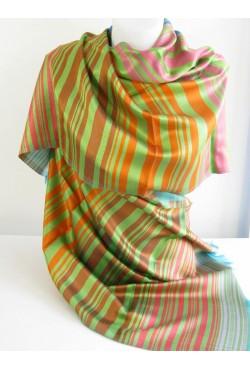 Etole en soie tissé vert orange