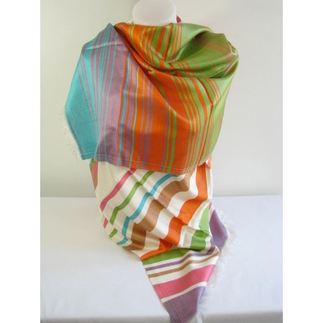 Etole en soie tissé multicolor