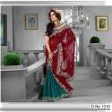 Sari Indien rouge et vert brodé de strass