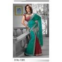 Sari indien vert et rouge brodé de pierres et strass