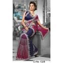 Sari Indien bleu et rouge brodé de pierres et strass