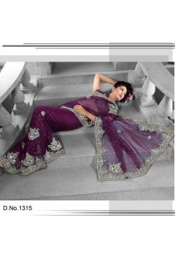 Sari indien prune brodé de pierres et strass