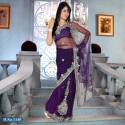 Sari indien violet brodé de pierres et strass