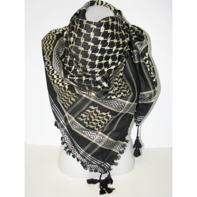 Keffieh noir et beige echarpe palestine 65c828faae9