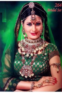 Bijoux mariage indiens lotus vert et rouge