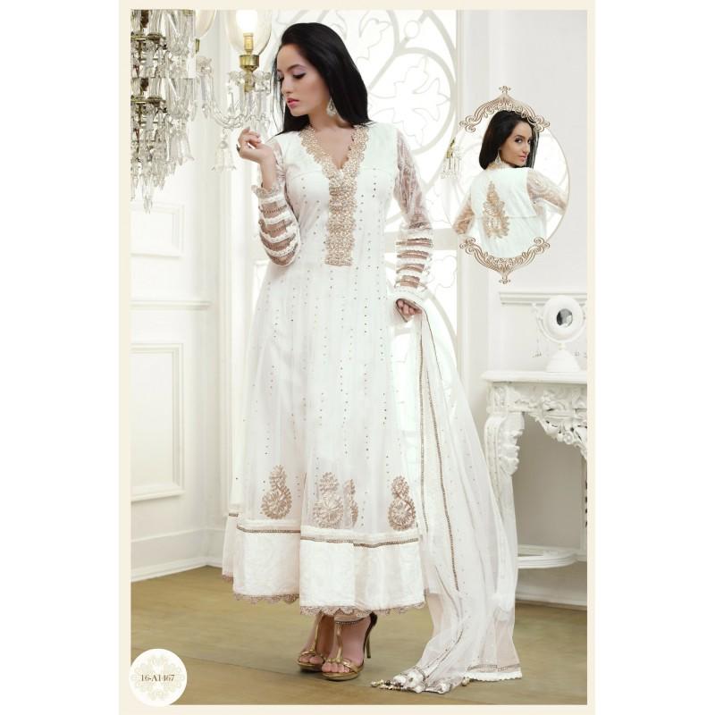 salwar kameez tunique blanche brod e de dor e avec une tole et un pantalon. Black Bedroom Furniture Sets. Home Design Ideas