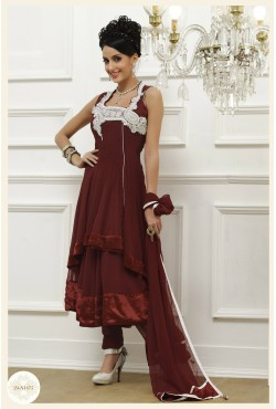 Salwar kameez Anarkali rouge bordeaux tunique brodée
