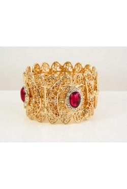 Bracelet oriental en plaqué or filigrane et pierre de couleur