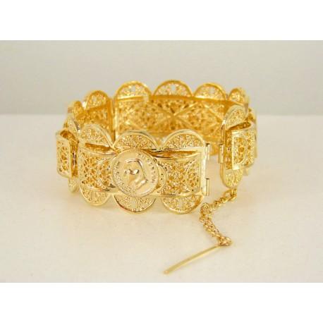 Bracelet en plaqué or avec motifs faits à la main - bijou oriental